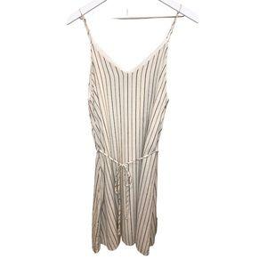 Bohme Cream Spaghetti Strap Striped Dress Large